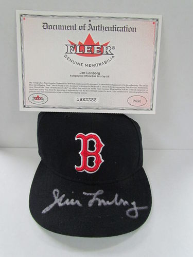 2001 Fleer Red Sox JIM LONBORG Signed Hat