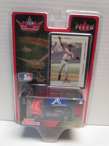 2001 Fleer White Rose Chipper Jones Card and Braves PT Cruiser Diecast Car 1:64