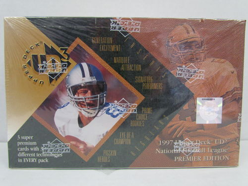 1997 Upper Deck UD3 Football Hobby Box (shrinkwrap torn)