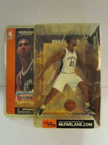TIM DUNCAN McFarlane NBA Series 1 Figure White Jersey Variant (package yellowed)