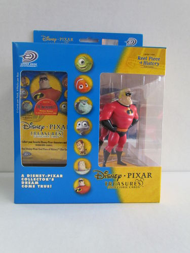 Upper Deck Disney Pixar Treasures Collectible Cards and Mr. Incredible Figure Box