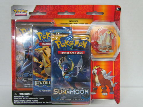 Pokemon Sun & Moon 3-Pack Blister with ENTEI Pin