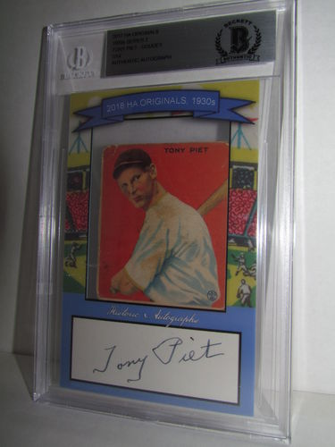 2018 Historic Autographs Originals The 1930s Series 2 TONY PIET
