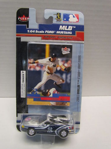 2003 Fleer Derek Jeter Card and Yankees Mustang Diecast Car 1:64