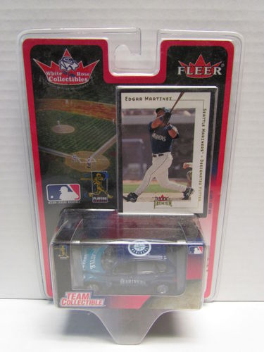 2001 Fleer White Rose Edgar Martinez Card and Mariners PT Cruiser Diecast Car 1:64