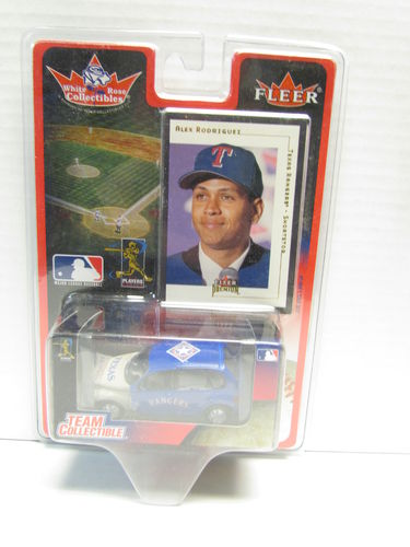2001 Fleer White Rose Alex Rodriguez Card and Rangers PT Cruiser Diecast Car 1:64