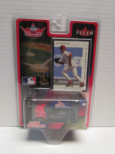 2001 Fleer White Rose Jim Edmonds Card and Cardinals PT Cruiser Diecast Car 1:64