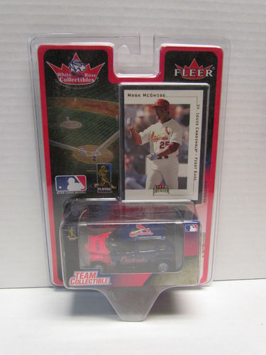 2001 Fleer White Rose Mark McGwire Card and Cardinals PT Cruiser Diecast Car 1:64
